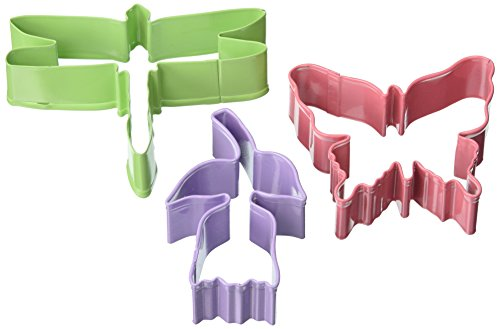 (R&M International 0398 Spring 3-Piece Cookie Cutter Set in Organza Gift Bag, Butterfly, Tulip, Dragonfly)