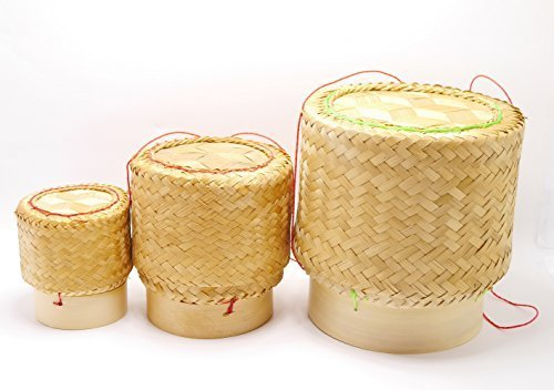 White Orchid Sticky Rice Bamboo Basket Thai Laos Traditional Handmade to Keep Sticky Rice Warm (set 3 size S M L) by Sandeko