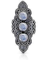 Koral Jewelry Moonstone 3 Stones Ethnic Vintge Gipsy Multi Stone Ring 925 Sterling Silver Vintage Tribal Gipsy Boho Chic