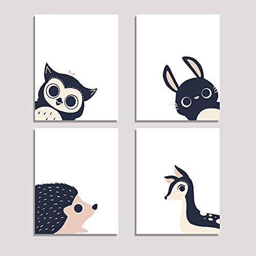 Peeking Animal Collection, Children's Wall Art Prints, Set of Four 08x10 Inch Print, Forest Nursery, Gender Neutral Nursery Decor, Rabbit, Deer, Owl, Hedgehog Decor, Woodland Nursery, Baby Room Decor