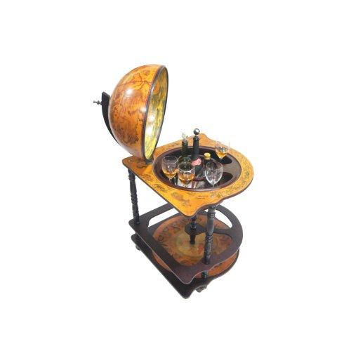 Merske Padua Italian Style Corner Floor Globe Bar, 21-Inch Diameter