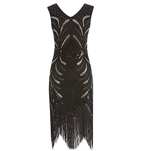 (Women Tassel Evening Dress, LKOEZI Lady Vintage 1920s Flapper Dress Costume Dress Sexy Fringed Sequin Dress (XXL,)