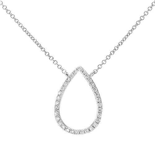 Revoni Bague en or blanc 9carats-Diamant 0.10Cts ouvert-Collier Femme-Pendentif goutte d'eau avec longueur de 40,6cm