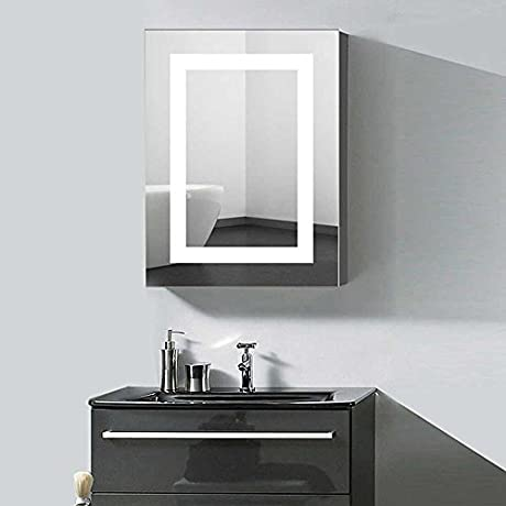 DECORAPORT 24 X 32 In Vertical LED Lighted Mirror Cabinet Wall Mount Illuminated Medicine Cabinet With Touch Button A NS168