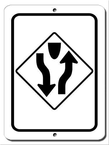 Cutadornsly Wall Art Decorative Signs Divided Highway Road Sign Metal Room Plaque Funny Aluminum Sign ()