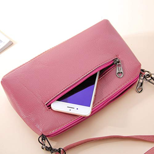 Kiminana Messenger Bags,Women's Fashion Simple Embroidery Multi-Function Zipper Shoulder Diagonal Package Pink by Kiminana (Image #5)