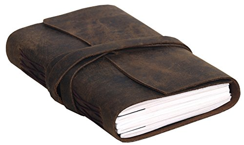 Handmade Leather Journal/Writing Notebook Diary/Bound Daily Notepad For Men & Women Unlined Paper Medium 7 x 5 Inches, writing pad gift for artist, sketch (Distressed Tan) - Mini Wrap Journal