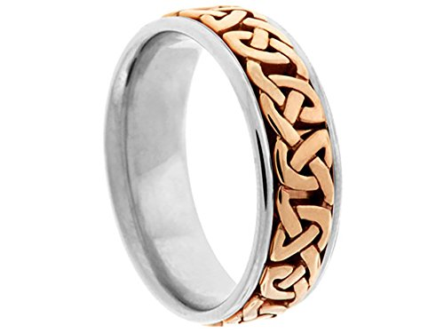 Men's Two Tone 14k White Rose Gold Celtic 7mm Comfort Fit Wedding Band Ring size 13.75