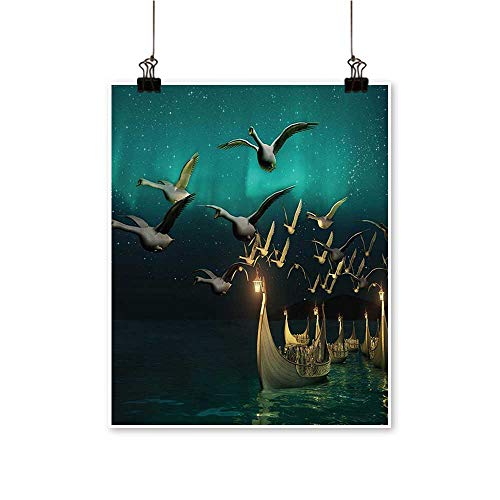 Hanging Painting Boats and Magical Birds Swans Mystical Adventure Teal Gold Rich in Color,24