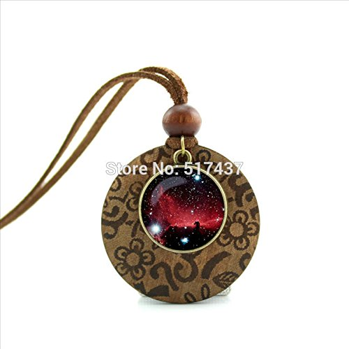 - Pretty Lee New Design Wooden Pendant Necklace Nebula Galaxy Necklace Space Jewelry Glass Picture Pendant