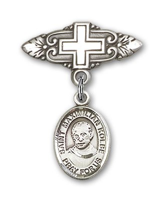 Amazon Religiousobsessions Sterling Silver Baby Badge With St