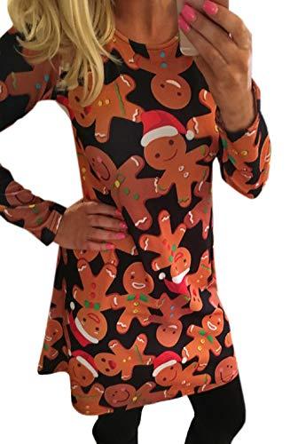 Primavera Larga Partido Casual Fashion Corto Fiesta Navidad de Otoño Simple Redondo Impresión Manga Slim Mujeres Cuello y Moda Vestido Vestidos OpxOqEv