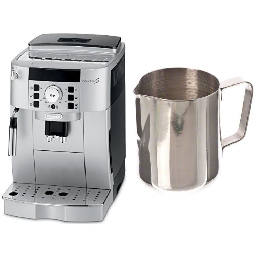 DeLonghi ECAM22110SB Compact Automatic Cappuccino, Latte and Espresso Machine and Update International (EP-12) 12 Oz Stainless Steel Frothing Pitcher Bundle by DeLonghi