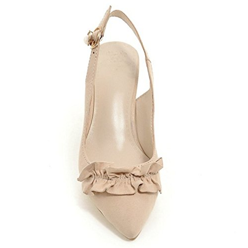 TAOFFEN Women Elegant Buckle Pearl Openback Ruffles Block Mid Heel Sandals Beige bvSwkd2nH