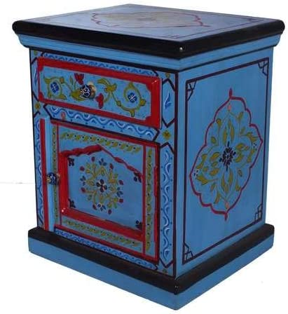 Moroccan Handpainted Solid Wood One Door and 1 Drawer Turquoise Nightstand