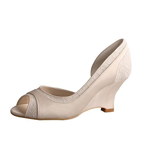 Ivory wedge Pumps MW854 Lace Toe Women's Party Shoes Wedding Satin Wedopus Peep Heel BpqAwpO