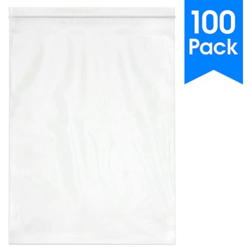 "Spartan Industrial || 100 Count - 13 X 18"" - 2 Mil Clear Plastic Reclosable Zip Poly Bags with Resealable Lock Seal Zipper (More Sizes Available) from Spartan Industrial"