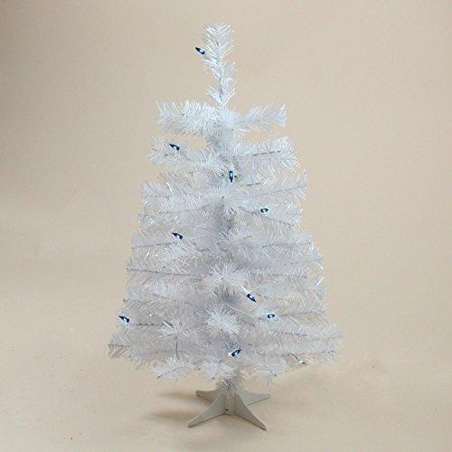 """Blue Tinsel Christmas Tree - 2' x 12"""" Pre-Lit Slim White Tinsel Artificial Christmas Tree - Blue Lights"""