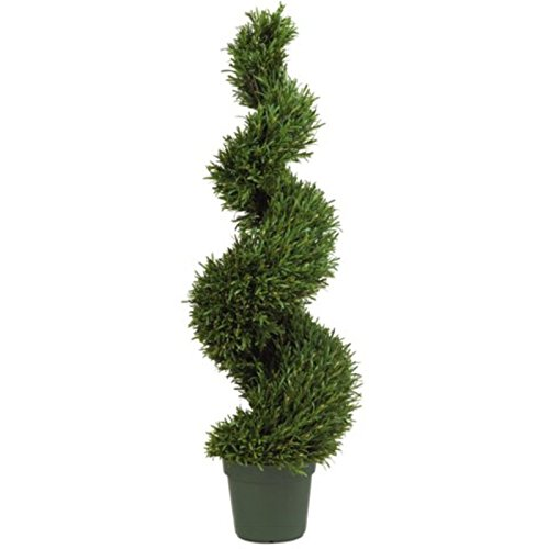 (GHP 4' Decorative Artificial Rosemary Spiral Silk Tree Potted Plant)