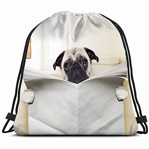 Pug Dog Sitting On Toilet Reading Animals Wildlife Funny Drawstring Backpack Bag Sackpack Gym Sack Sport Beach Daypack For Girls Men & Women Teen Dance Bag Cycling Hiking Team Training (Best Thing For Child Constipation)