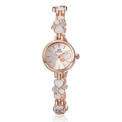 Brand Bracelet Bangle Watch Ladies Watch Heart-Shaped Diamond fine Beauty Creative Fashion Student Table White-Collar Workers Watch (White