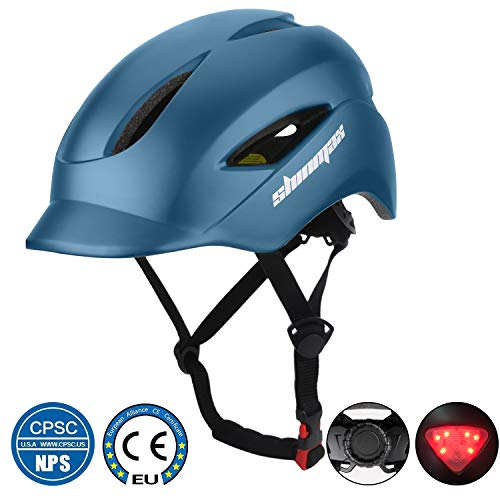 Shinmax Commuter Bike Helmet, Bicycle Helmet CPSC&CE Certified with Sun Visor&LED Light&Portable Backpack Adjustable Size for Adult Men/Women Urban Commuter/Cycling/Mountain/Road