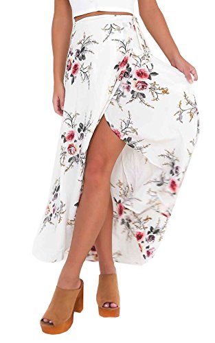 Hibluco+Women%27s+Asymmetrical+Floral+Ankle+Length+Long+Open+Side+Beach+Skirts+%28Small%2C+White%29