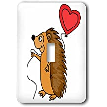 3dRose All Smiles Art Love - Funny Cool Hedgehog with Love Balloon Cartoon - Light Switch Covers - single toggle switch (lsp_265133_1)
