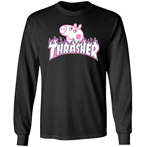 Funny Thrasher Peppa Pig T - Shirt for Men Women Girls Boys Long Sleeve (M,Black) for $<!--$25.99-->