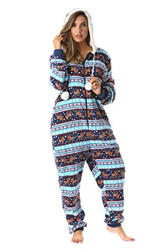 6342-10129-XS Just Love Adult Onesie / Pajamas,X-Small,Navy - Reindeer Snow -