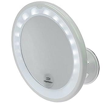 Kosmetex Spiegel Mit 10 Fach Vergrößerung Led Beleuchtung Und Saugnapf ø 17 5 Cm