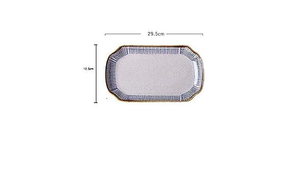 Hornear plato lasaña sartenes Plato de cerámica Plato de pescado asado Plato de pescado Plato de Hogares Binaural molde for hornear al horno Plato Horno de microondas disponible Banquetes y de uso