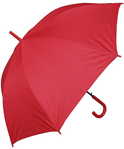 RainStoppers Auto Open European Hook Handle Umbrella, Red, 48-Inch