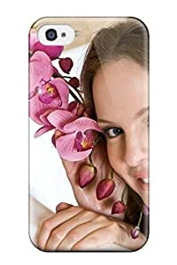 For Hxy Iphone Protective Case, High Quality For Iphone 4/4s Girl In Tub With Flowers Skin Case Cover