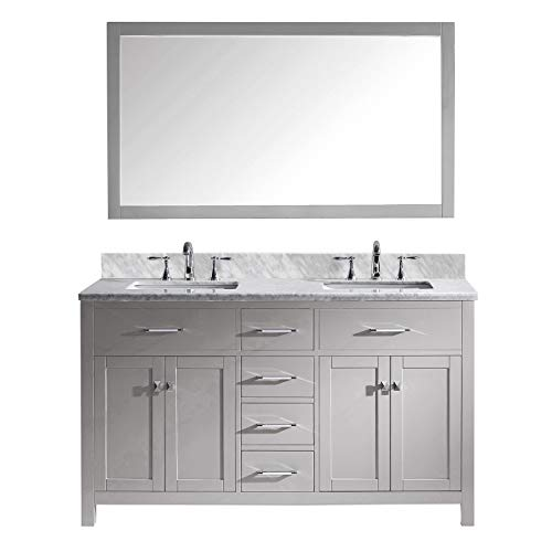 Virtu USA MD-2060-WMSQ-CG Caroline Double Bathroom Vanity with Marble Top/Square Sink with - Double For Mirrors Framing Bathroom Vanity