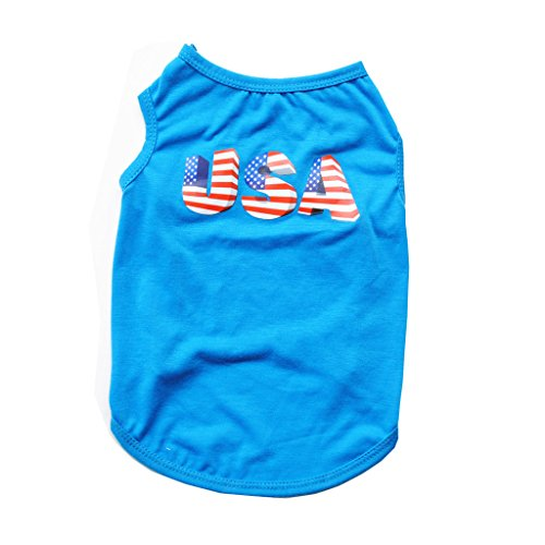 July Dog T-shirt - Mummumi Small Dog Clothes, Pet Puppy Coat July Fourth Dog T Shirt Vest Clothes Thin Breathable Summer Pet Clothes For Cat Pet Small Dog Yorkshire Chihuahua (M, Blue Vest)