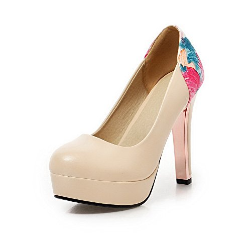 VogueZone009 Women's Soft Material Round Closed Toe High-Heels Pull-On Two-Toned Pumps-Shoes Beige