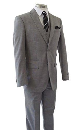 Alberto Cardinali Men's Sharkskin 3-Piece 2 Button Slim-Fit Suit w/ Matching Vest [Color: Light Gray | Size: 50 Regular / 44 Waist] by Alberto Cardinali (Image #3)