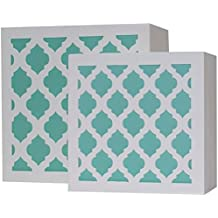 Blu Monaco White and Aqua Trellis Trinket Box Set – Beautiful and Trendy Jewelry Storage – Unique Design and Plenty of Storage Space – Premium Quality Boxes for the Home