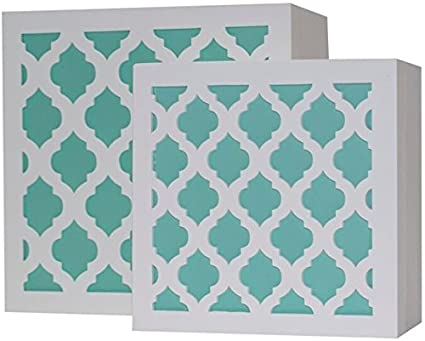 Beau Blu Monaco White And Aqua Trellis Trinket Box Set U2013 Beautiful And Trendy  Jewelry Storage U2013