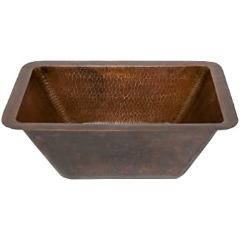 Premier Copper Products Lrecdb Rectangle Hammered Copper Bathroom Sink Oil Rubbed Bronze