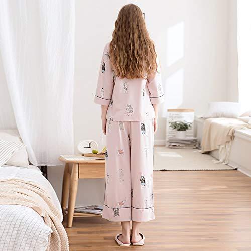 Pijamas Servicios Baujuxing Y El Primavera Redondo Mujer De Conjunto M Para Cuello Hogar Otoño Algodón Xl Manga Dibujos 100 Animados Informal fqZdZBxn