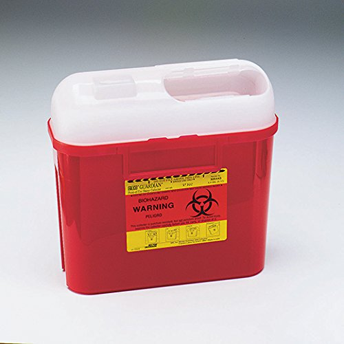 BD Medical Systems 305443 Sharps Collector, Side Entry, 5.4 quart Capacity, 10.75'' Height x 12'' Width x 4.5'' Depth, Red (Pack of 20)