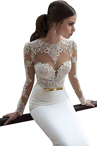 Ok Dress Women's Long Sleeve Lace Mermaid Wedding Dresses 2015 Backless Bridal Gowns (US2, White)