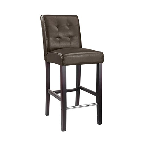 CorLiving DAD-483-B Antonio Bar Height Barstool in Dark Brown Bonder Leather, 31-Inch