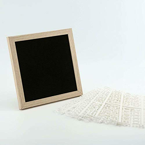 (AZAMON Durable Easy to Use Sawtooth Design Felt Letter Board Black Signs Changeable Message Removable Letters Display Frame with White Plastic Letters)