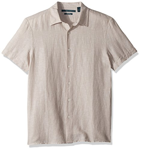 Perry Ellis Men's Short Sleeve Solid Linen Cotton Button-Up Shirt, Natural, -