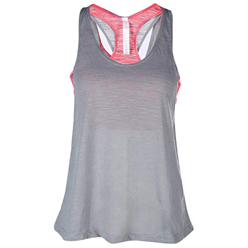 (camgo Padded Active Camisole Yoga Tanks Tops with Built-in Bra Vest Racerback Shirts for Gym Workout Exercise (L, Grey) )