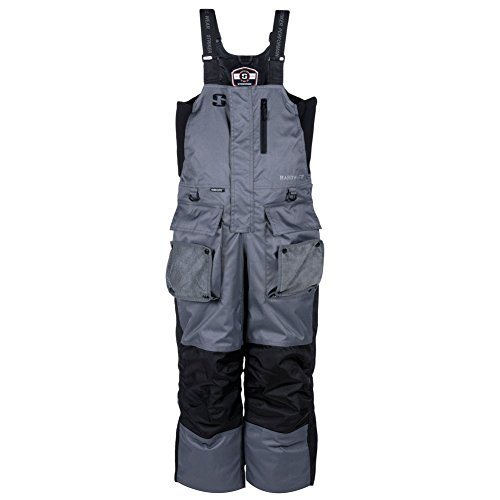 Striker Ice Men's Hardwater Bibs, Gray/Black, XL (Ice Suit)