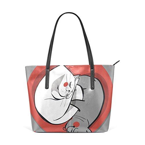 COOSUN Perro y gato de Yin Yang del círculo de la PU de cuero bolso monedero y bolsos de la bolsa de asas para las mujeres Medio muticolour